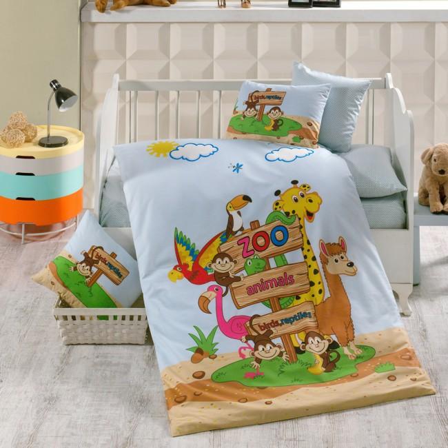 Спален комплект за кошара Зоопарк с чаршаф на сини точки