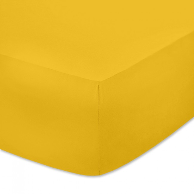 Чаршаф с ластик от памучно трико Наситено жълт