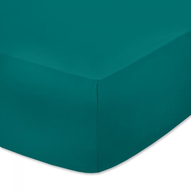 Чаршаф с ластик от памучно трико Петролено зелен