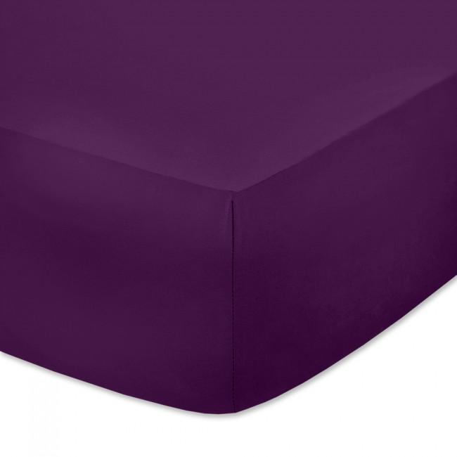 Чаршаф с ластик от памучно трико Тъмно лилав